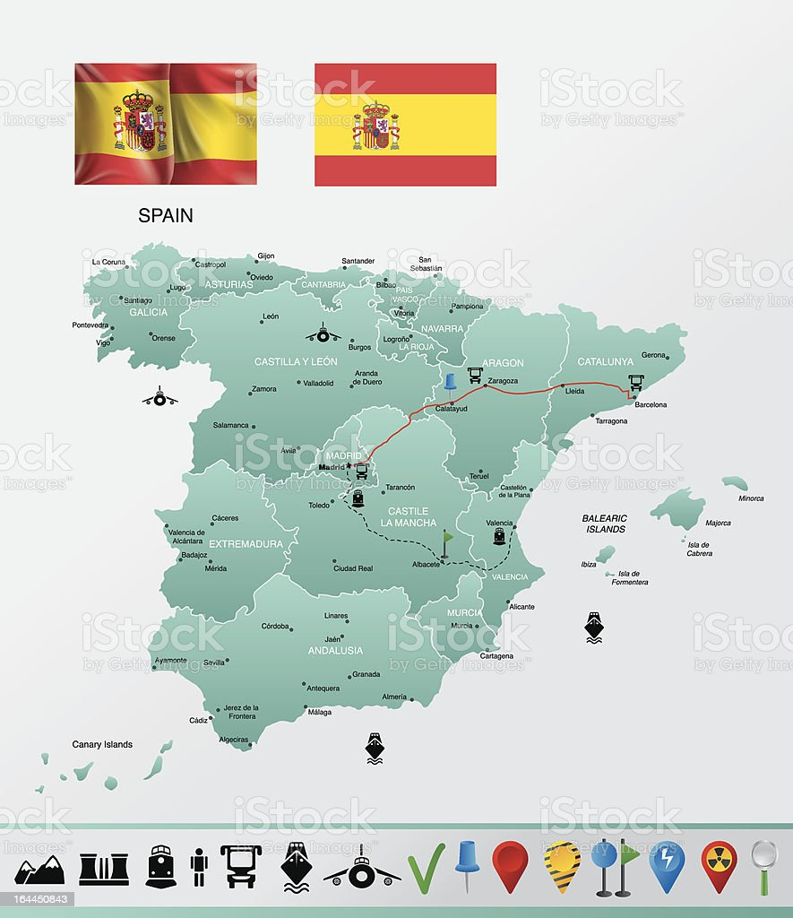 Spain detailed map, with navigation icons royalty-free stock photo
