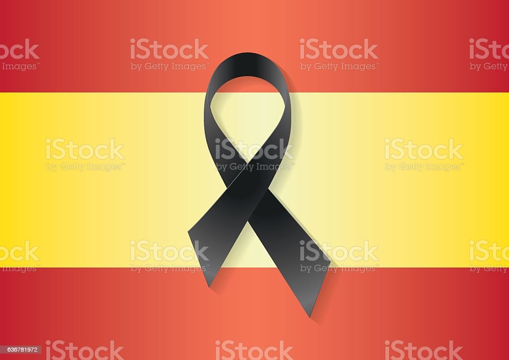 Spain flag black ribbon vector art illustration