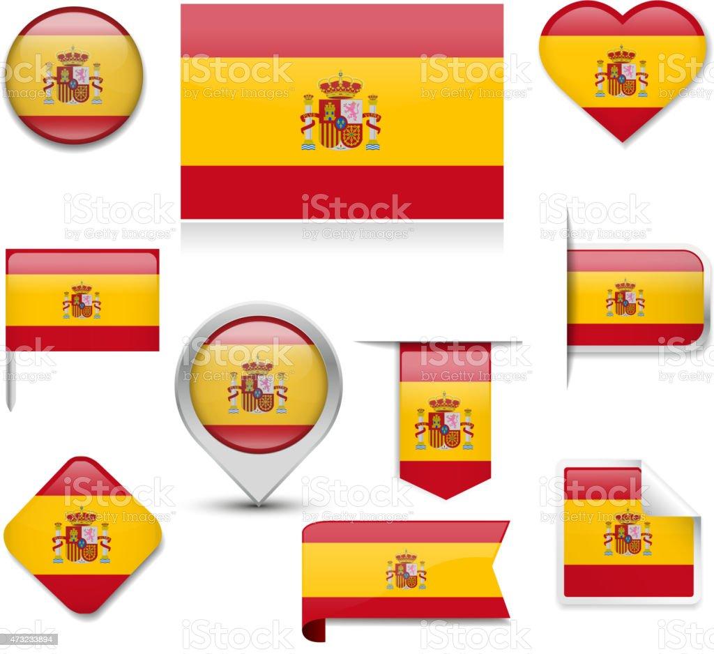 Spain Flag Collection vector art illustration