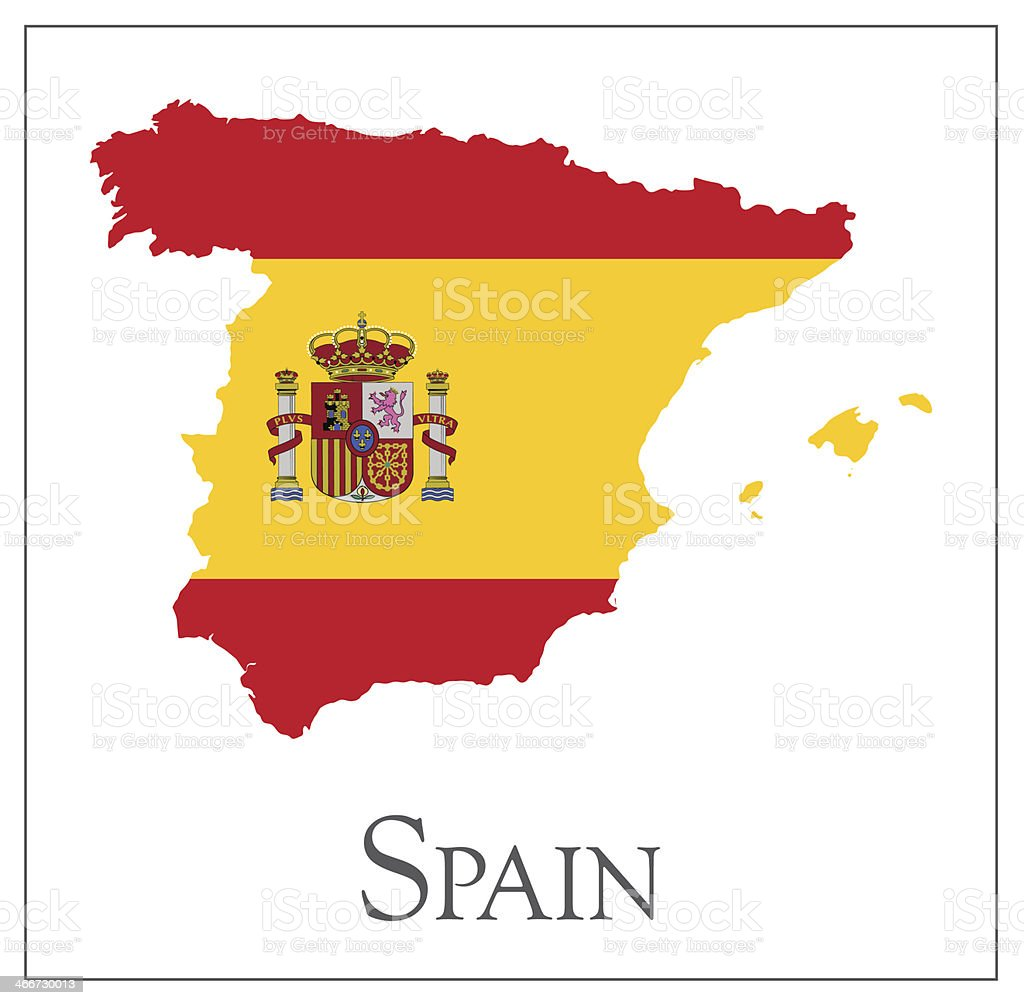 Spain flag map vector art illustration
