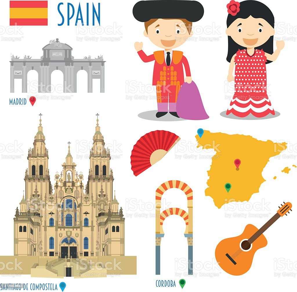 Spain Flat Icon Set Travel and tourism concept. Vector illustration vector art illustration