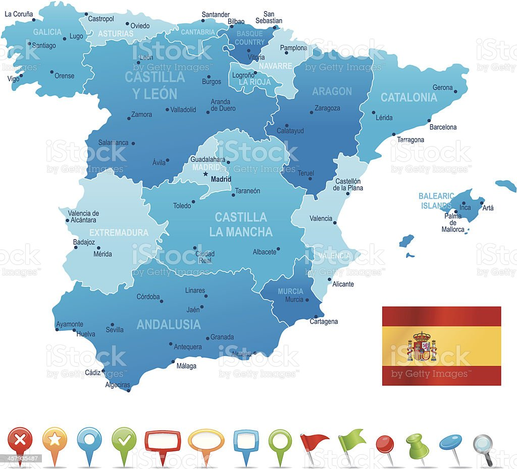 Spain - highly detailed map royalty-free stock vector art