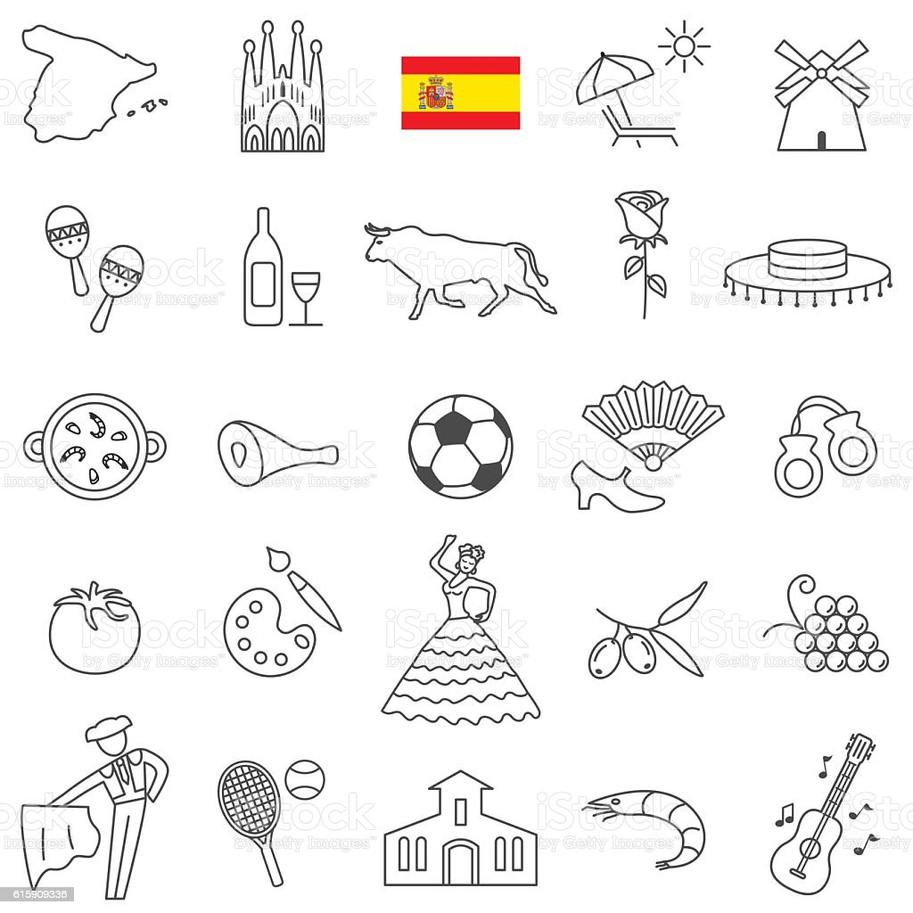 Spain icon set vector art illustration