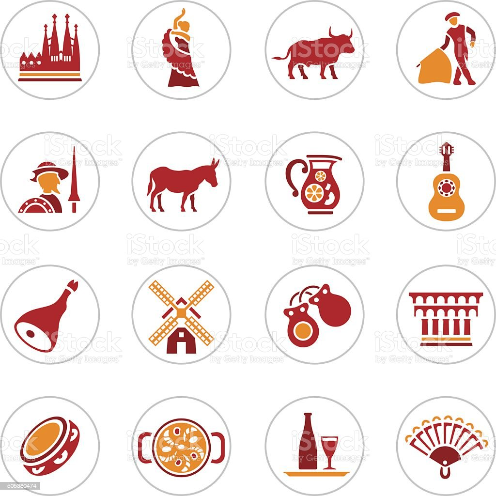 Spain Icons vector art illustration