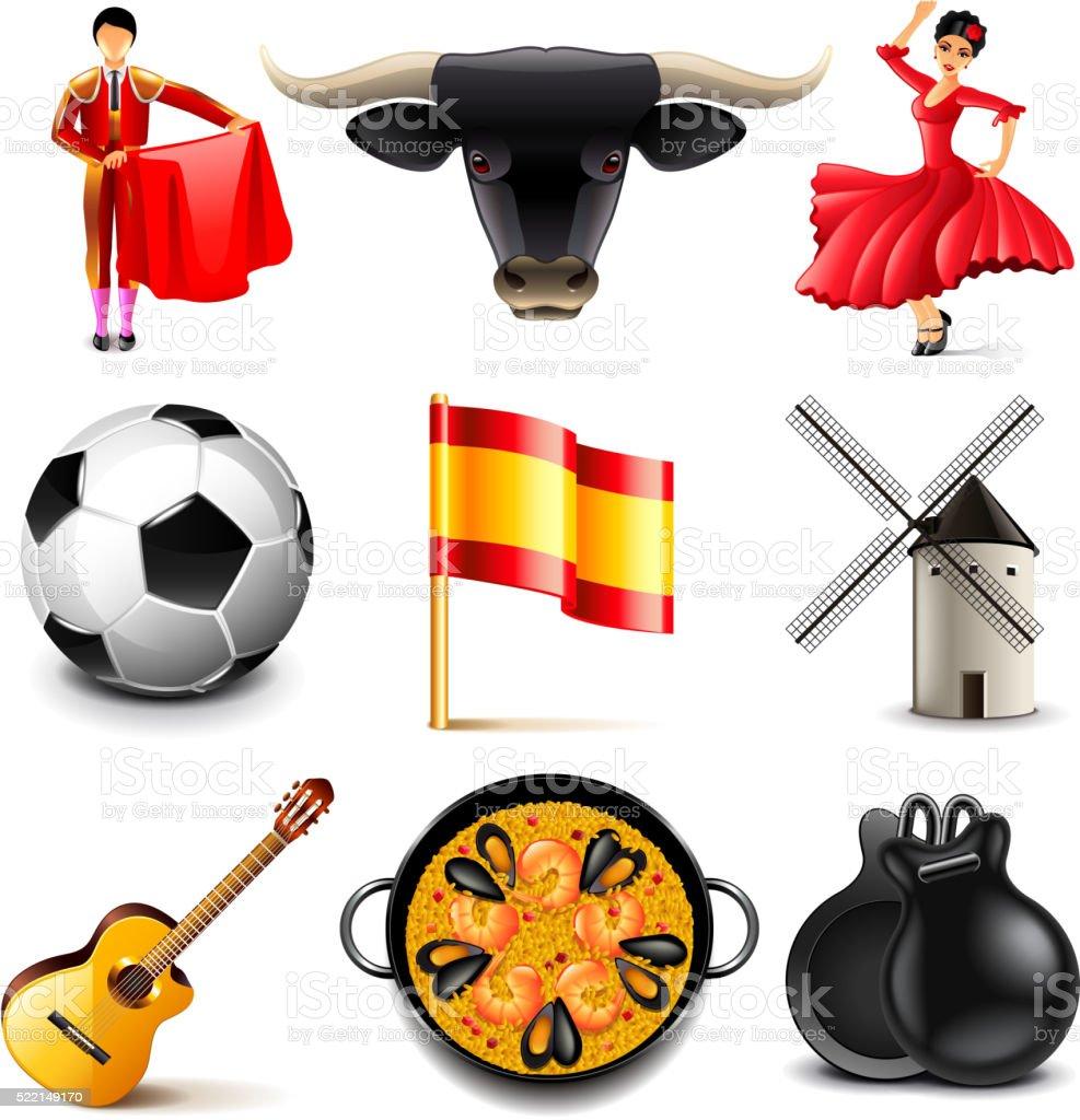 Spain icons vector set vector art illustration