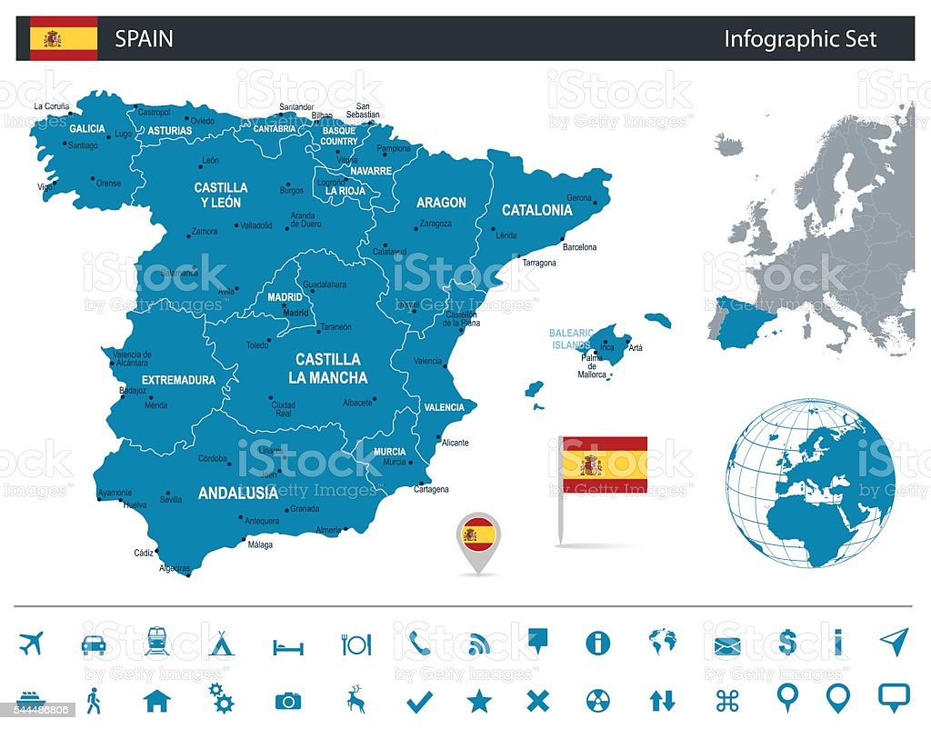 Spain - infographic map - Illustration vector art illustration