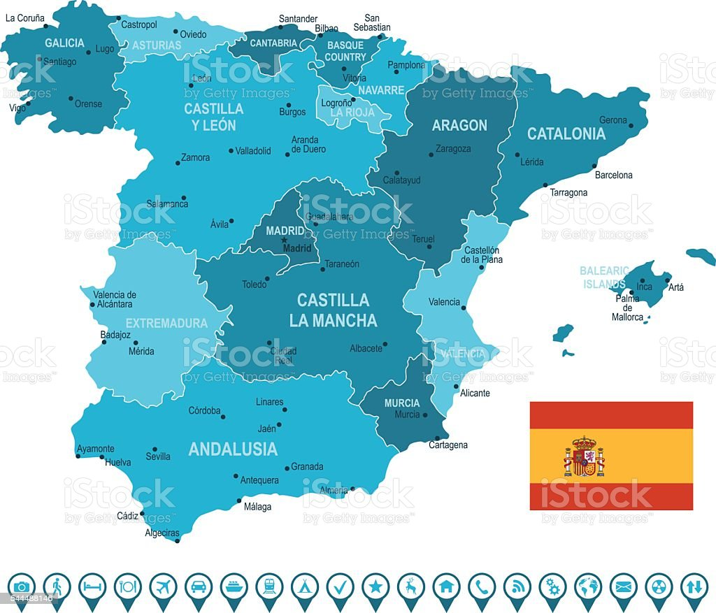 Spain Map and Navigation Icons vector art illustration