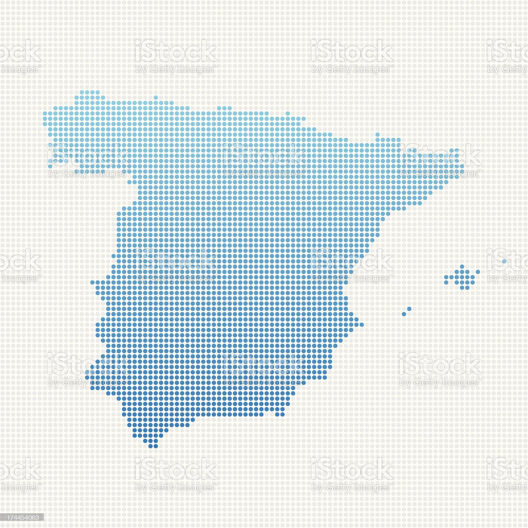Spain Map Blue Dot Pattern royalty-free stock vector art