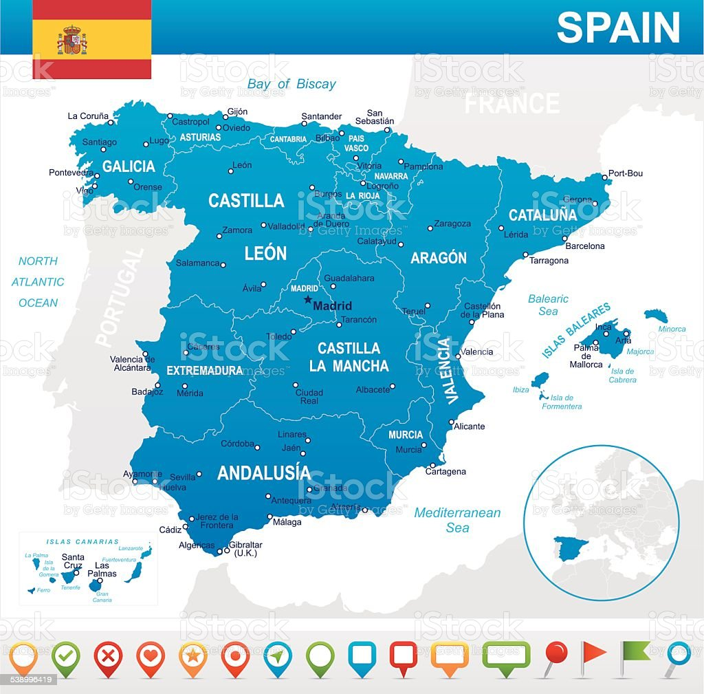 Spain - map, flag and navigation icons - illustration vector art illustration