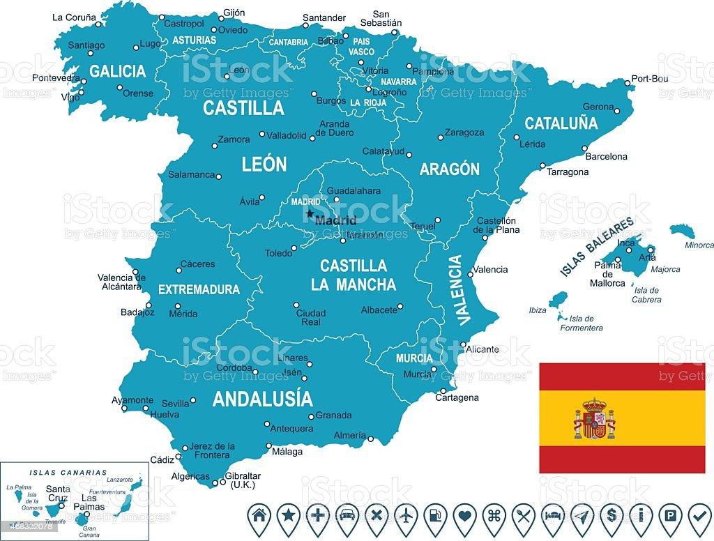 Spain - map, flag and navigation labels - illustration vector art illustration