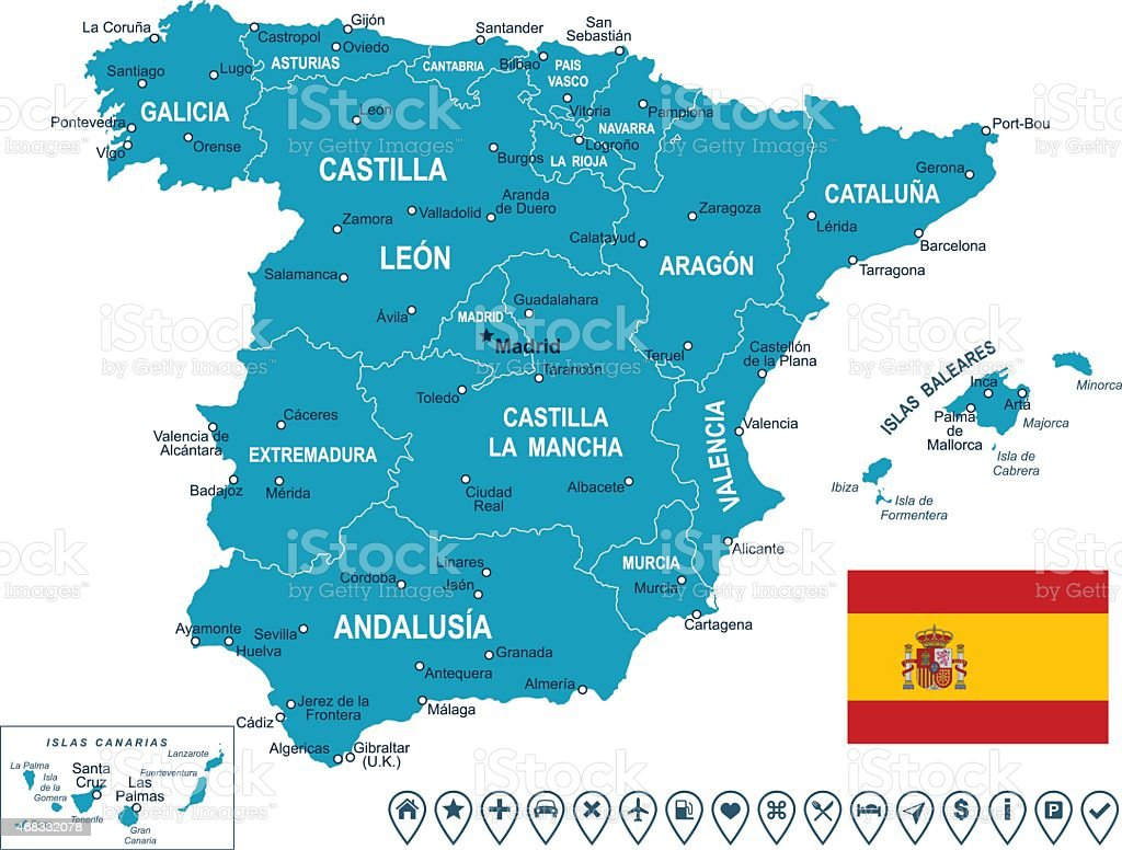 Spain - map, flag and navigation labels - illustration vector art illustration