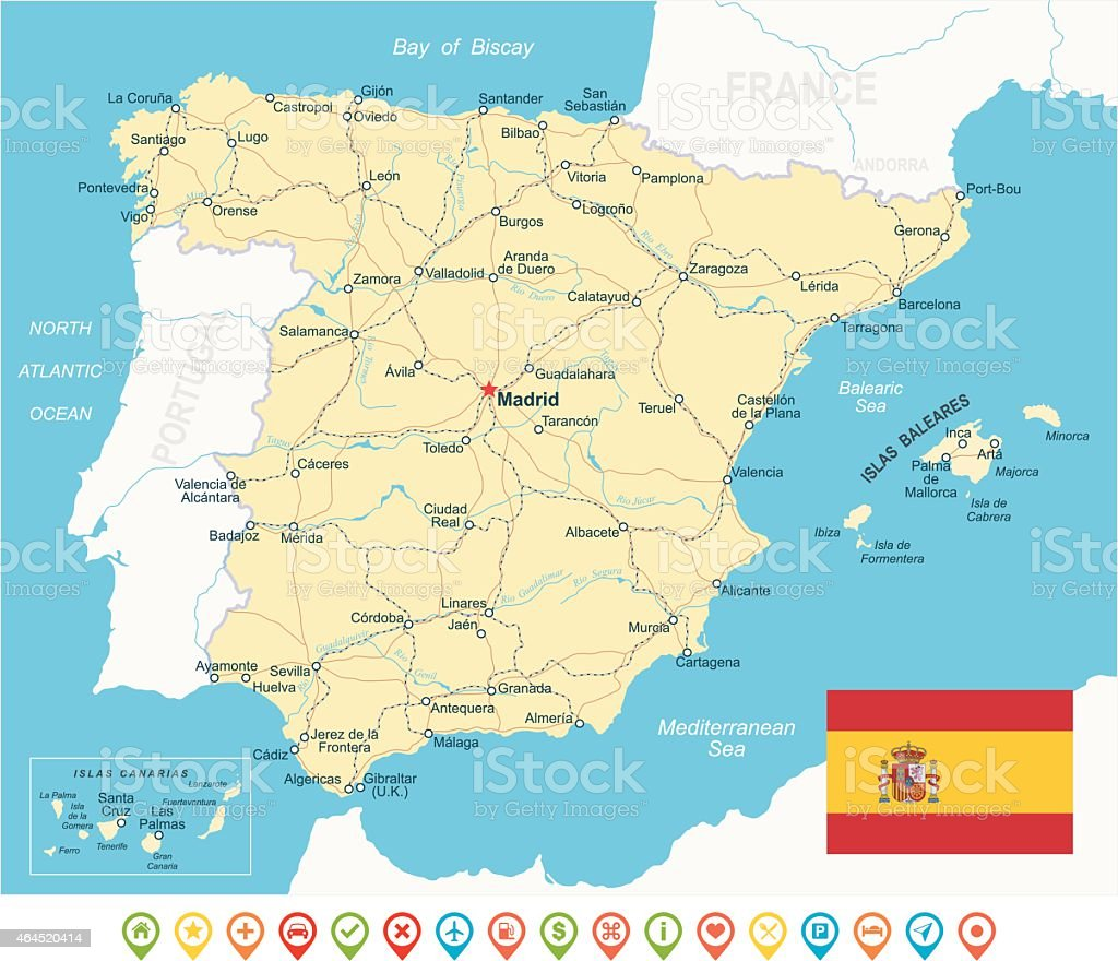 Spain - map, flag, navigation icons, roads, rivers - illustration vector art illustration