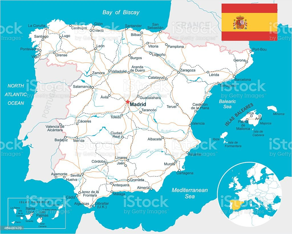 Spain - map, flag, navigation labels, roads - illustration vector art illustration