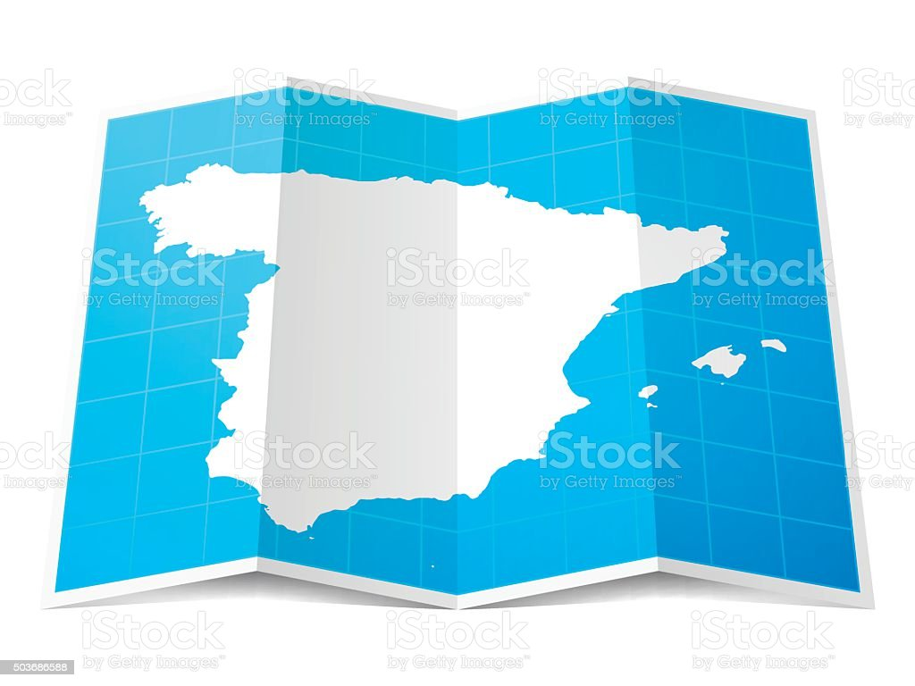 Spain Map folded, isolated on white Background vector art illustration