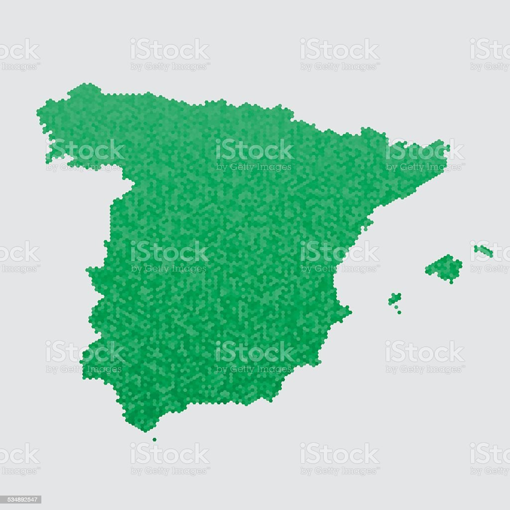 Spain Map Green Hexagon Pattern vector art illustration