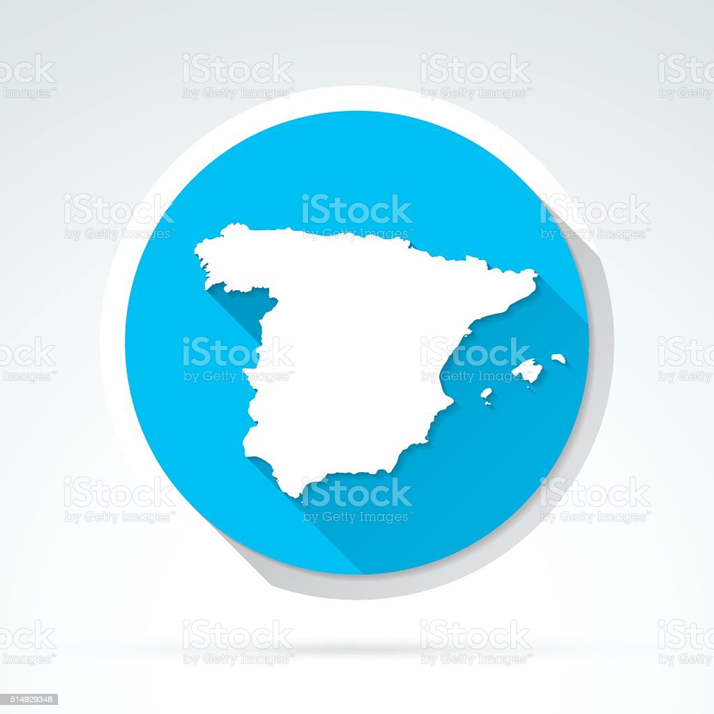 Spain map icon, Flat Design, Long Shadow vector art illustration