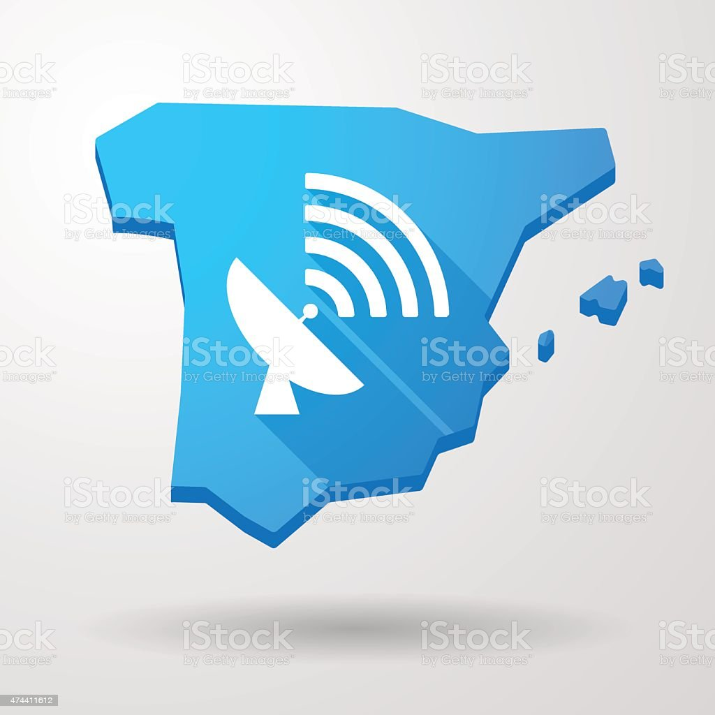 Spain map icon with an antenna vector art illustration