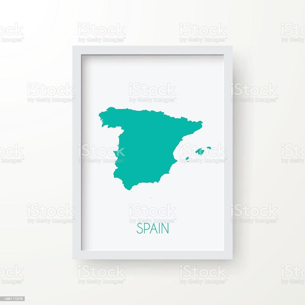 Spain Map in Frame on White Background vector art illustration