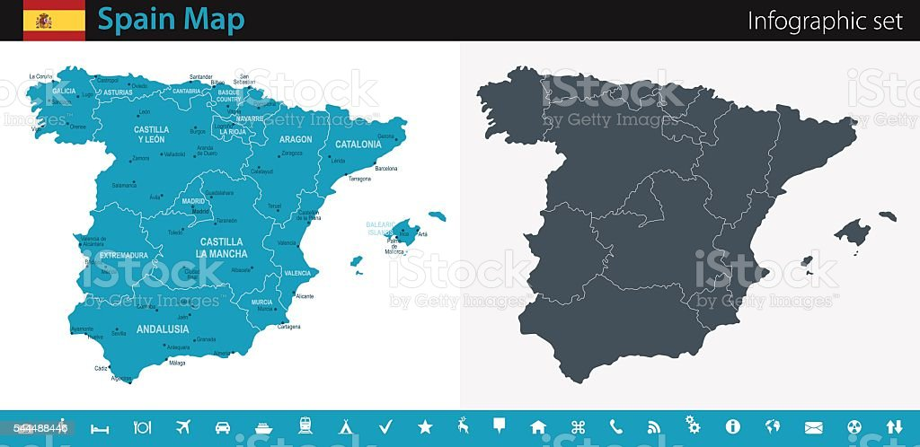 Spain Map - Infographic Set vector art illustration