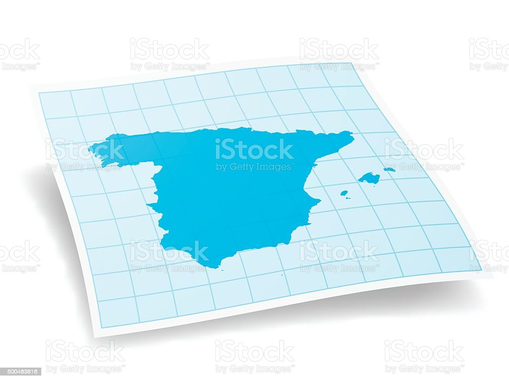 Spain Map isolated on white Background vector art illustration