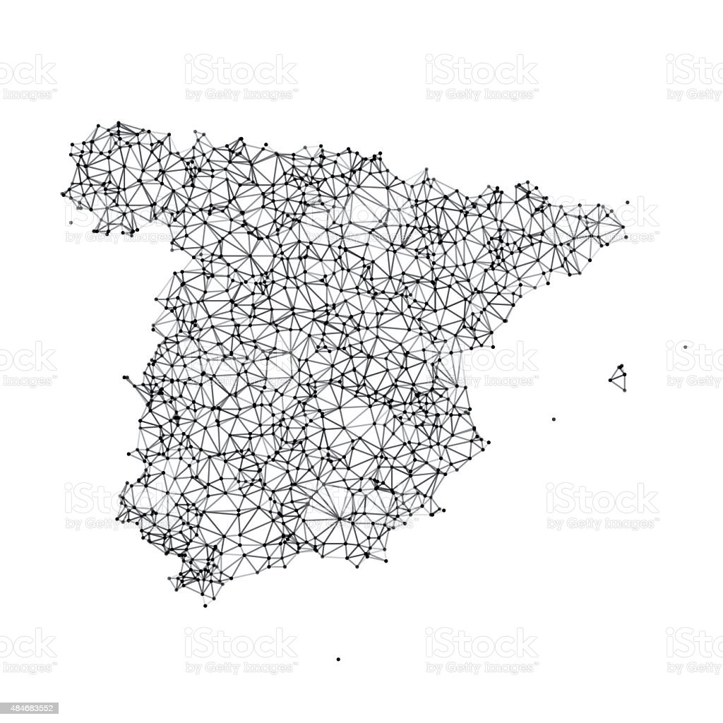 Spain Map Network Black And White vector art illustration