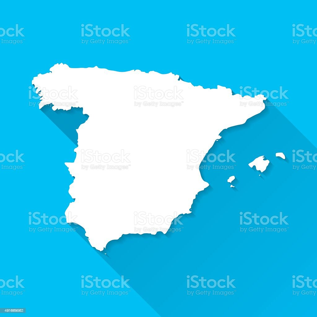 Spain Map on Blue Background, Long Shadow, Flat Design vector art illustration