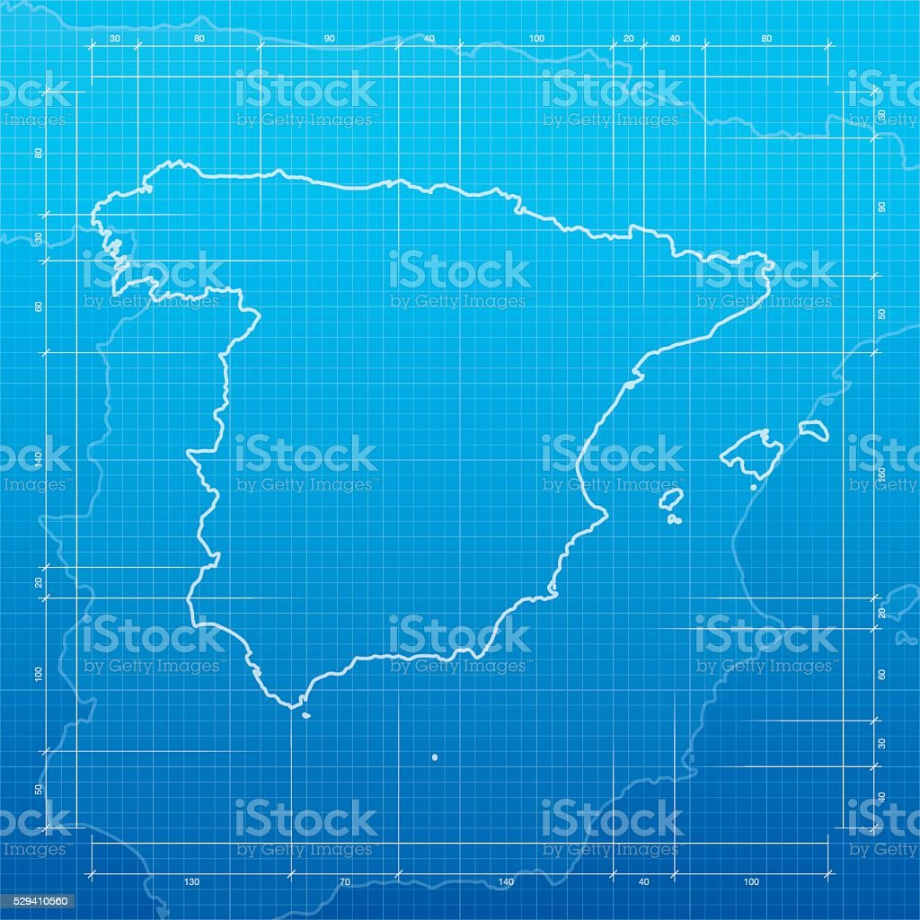 Spain map on blueprint background vector art illustration