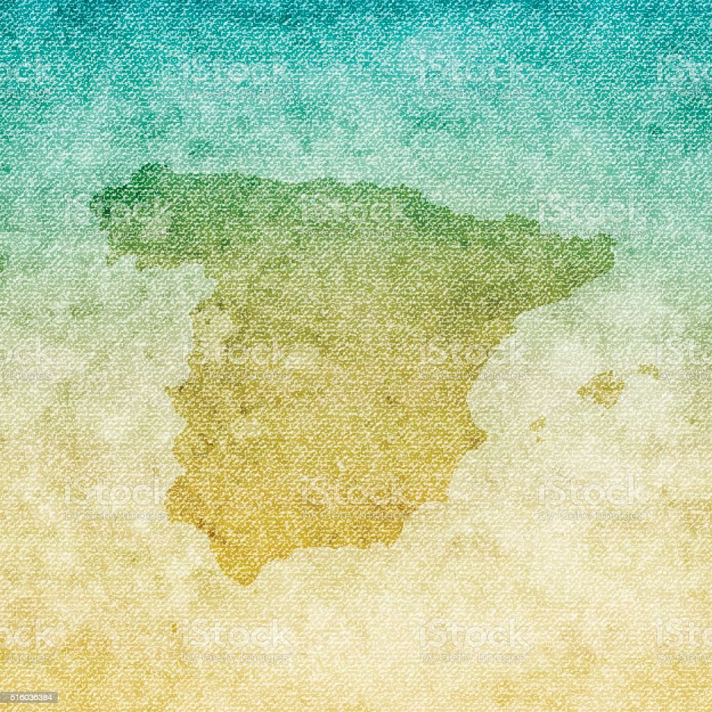 Spain Map on grunge Canvas Background vector art illustration