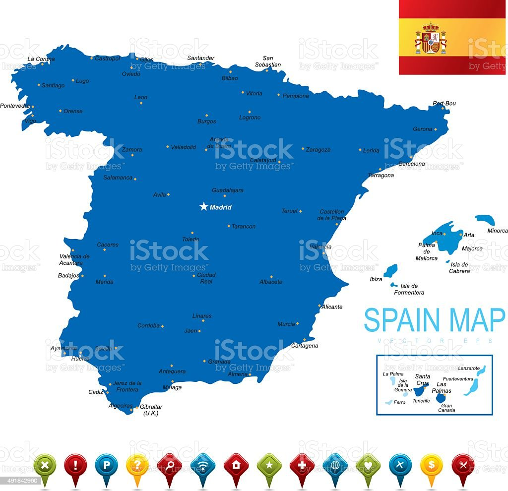 Spain Map vector art illustration