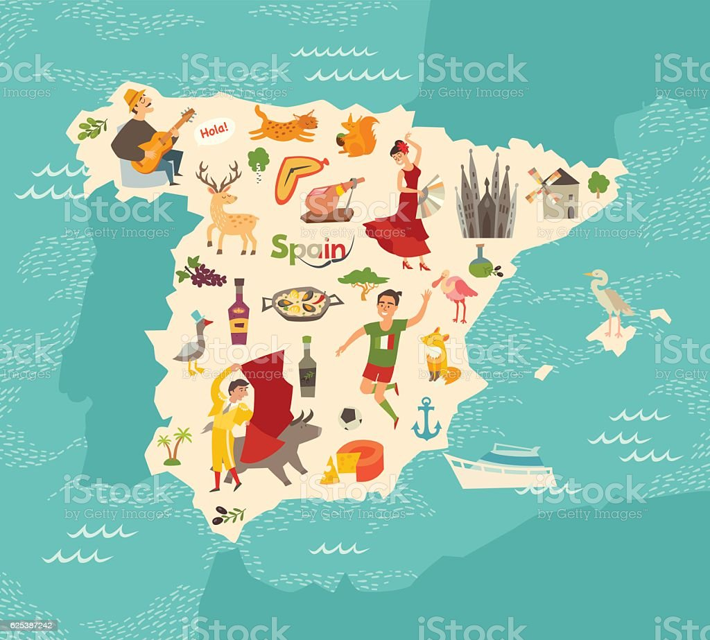 Spain map vector. Illustrated map for children. vector art illustration