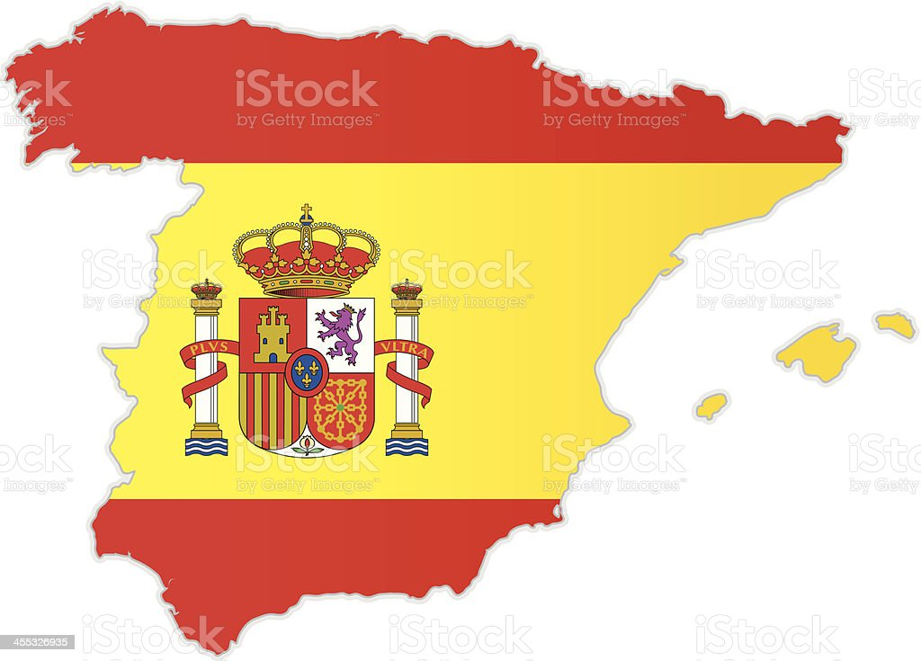 Spain map with flag royalty-free stock vector art