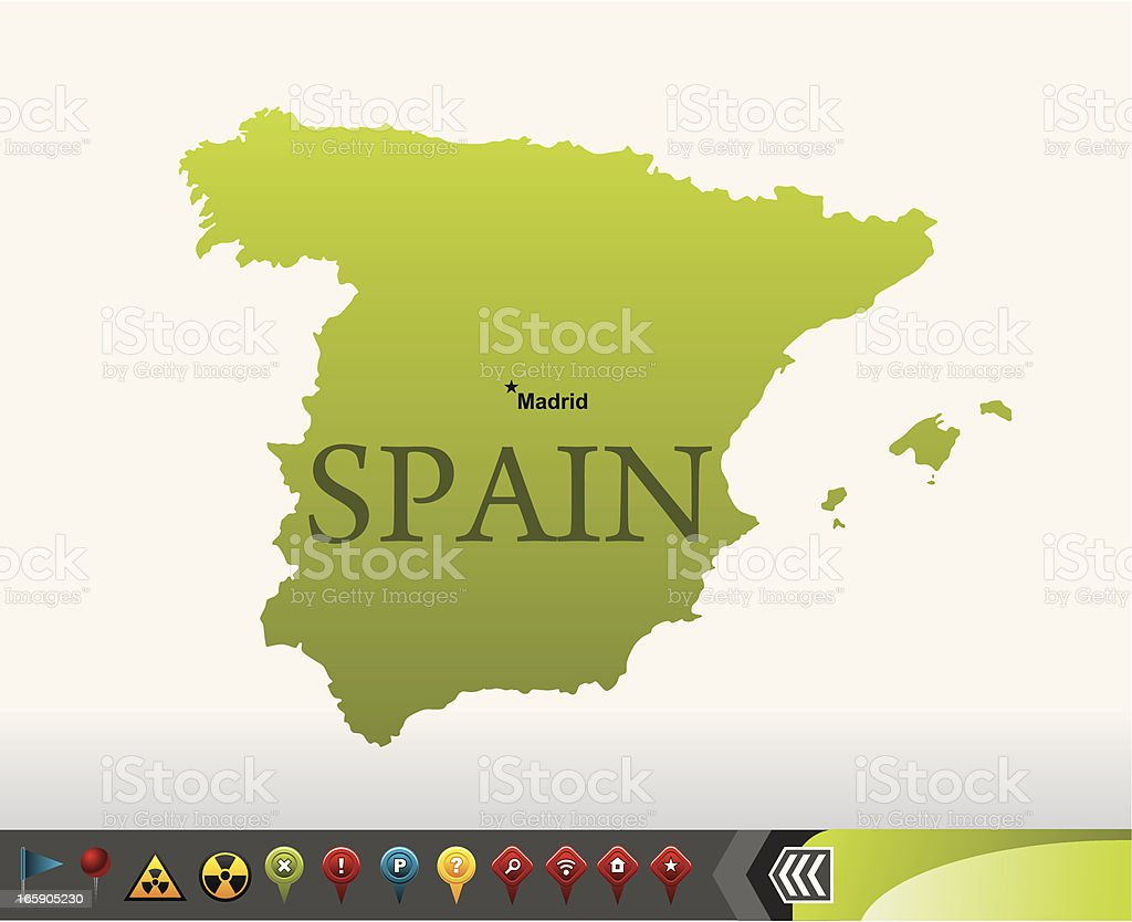 Spain map with navigation icons royalty-free stock vector art