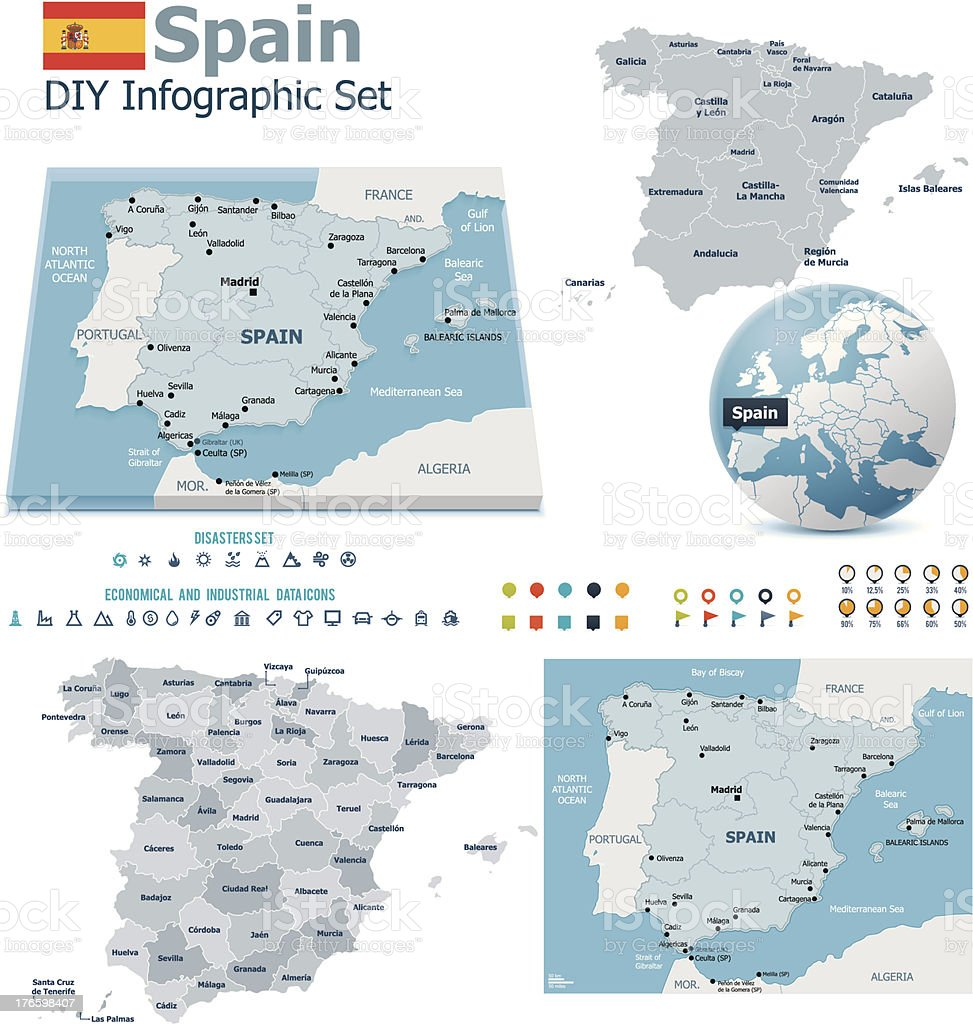 Spain maps with markers vector art illustration