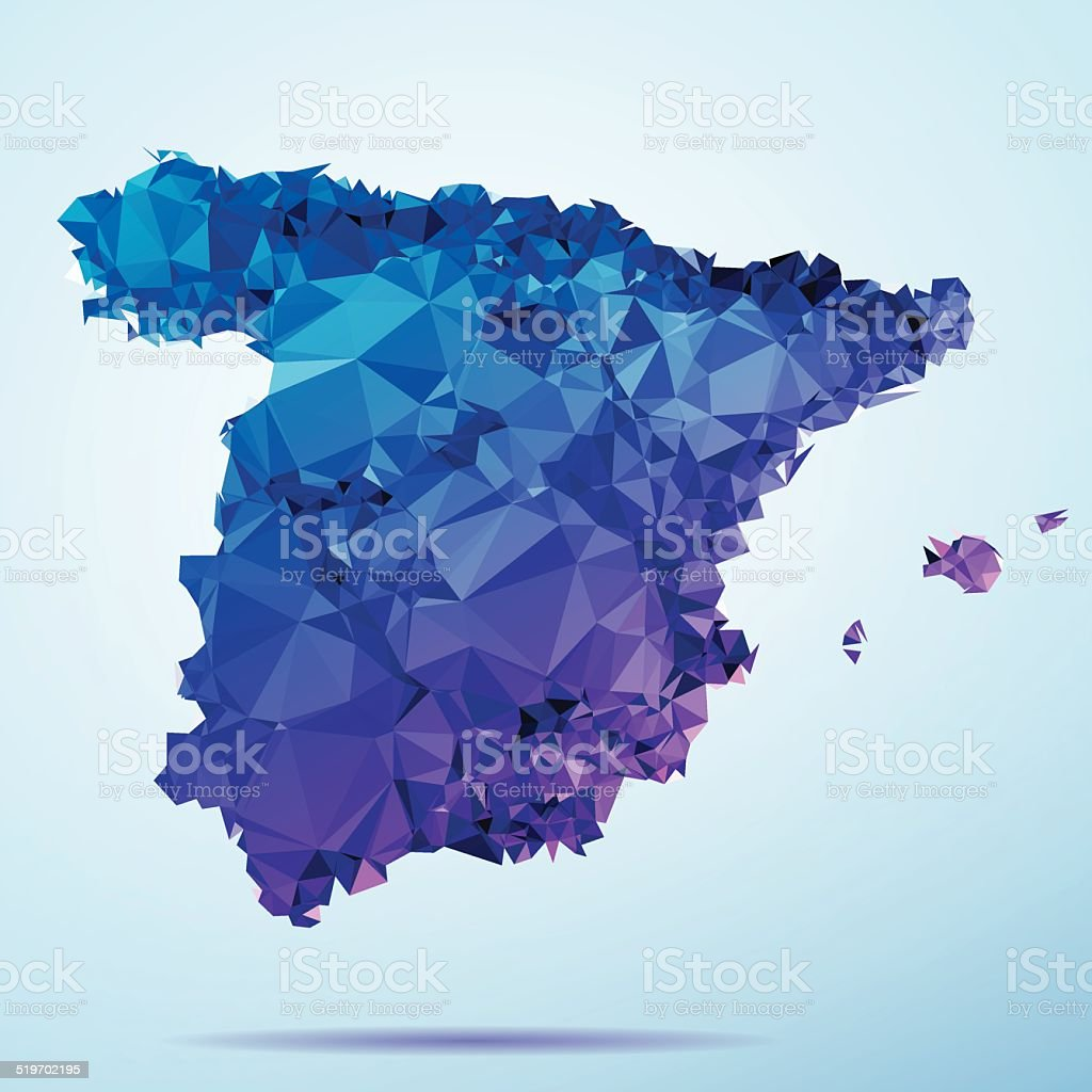 Spain Polygon Triangle Map Blue vector art illustration