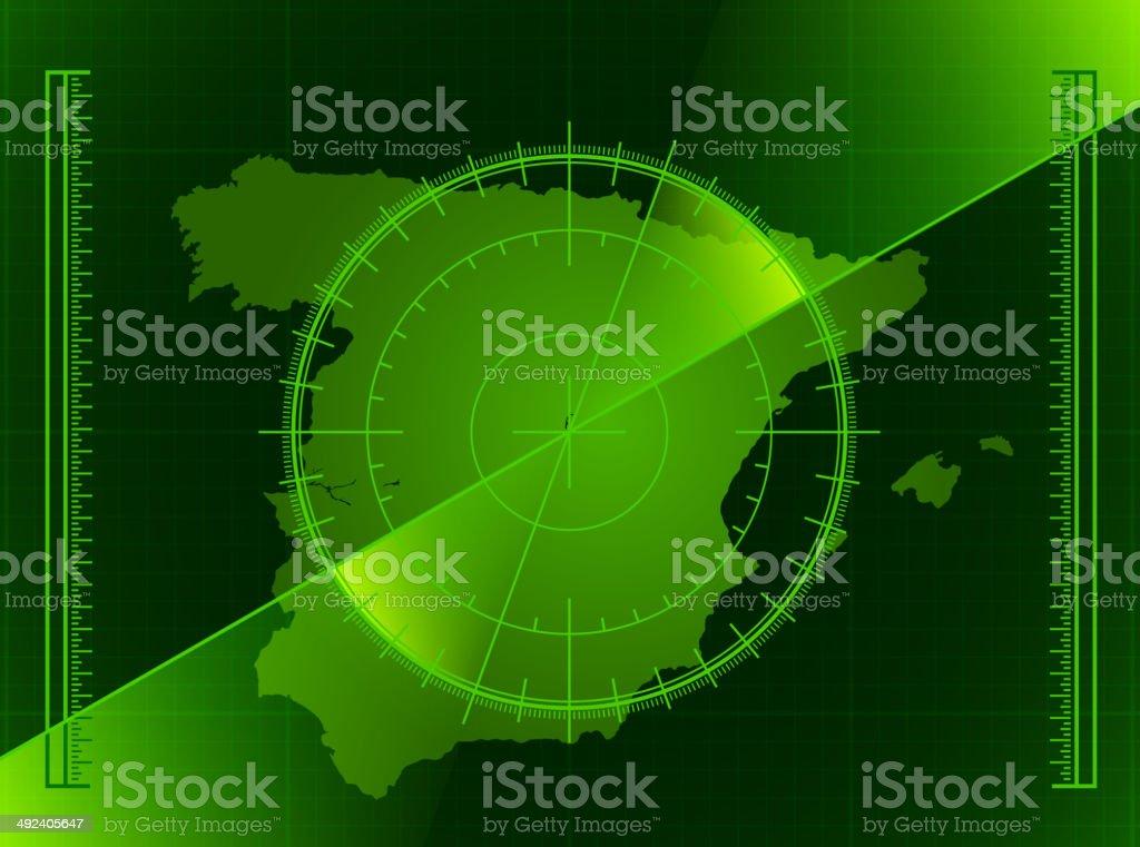 Spain Radar World Map royalty free vector art royalty-free stock vector art
