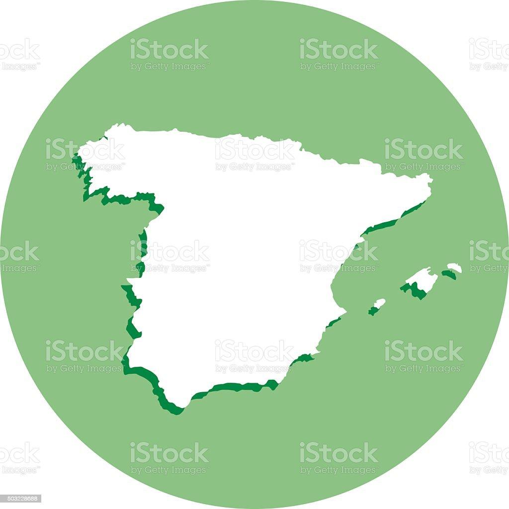 Spain Round Map icon vector art illustration
