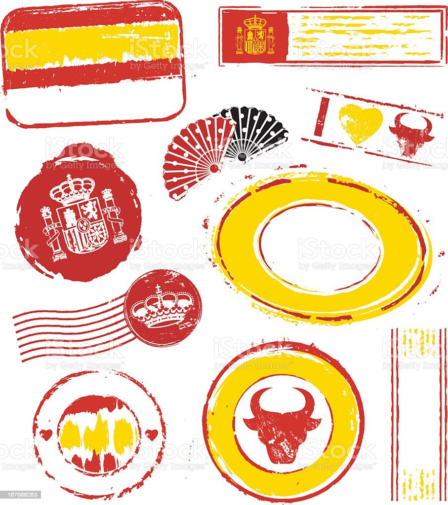 Spain Rubber Stamps royalty-free stock vector art