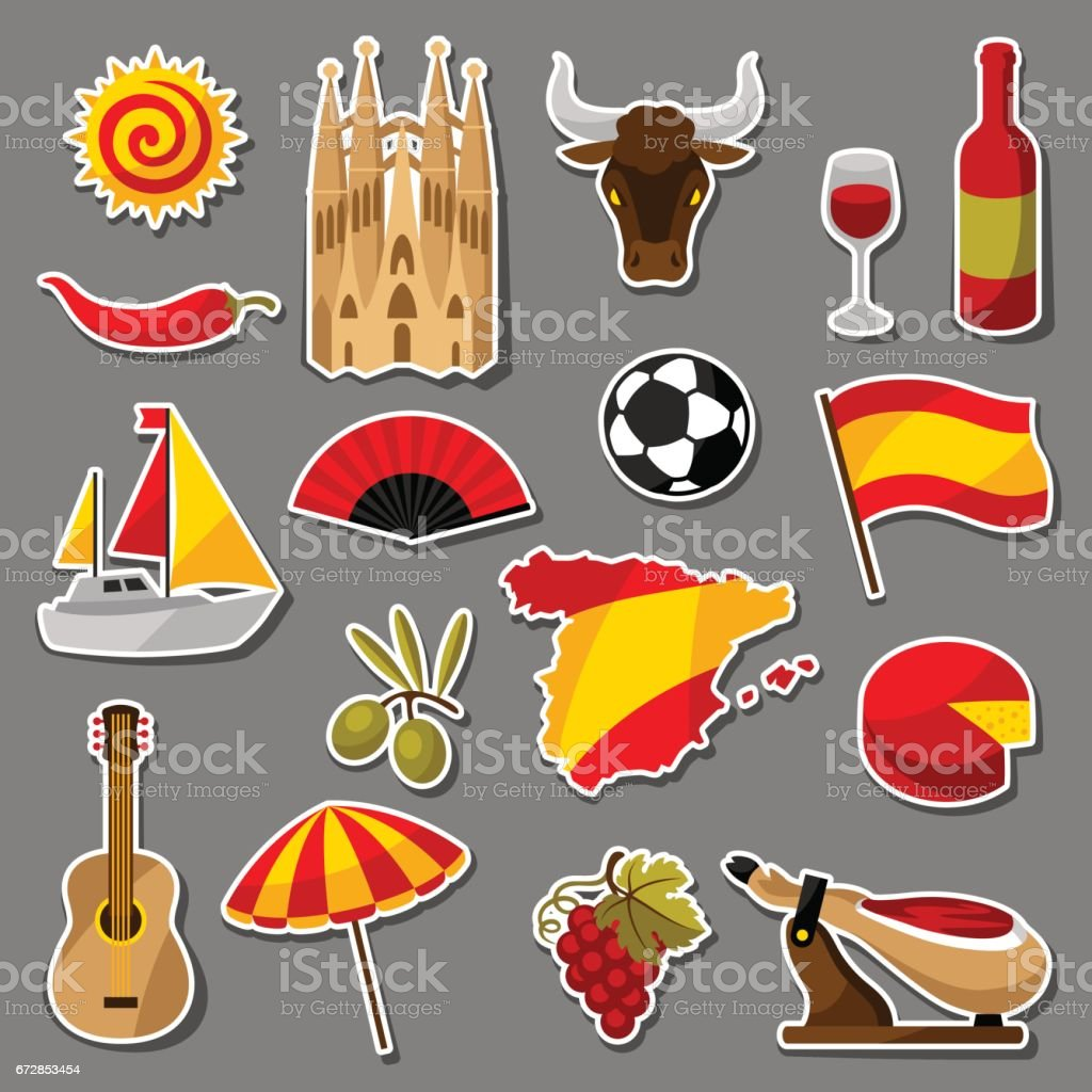 Spain sticker icons set. Spanish traditional symbols and objects vector art illustration