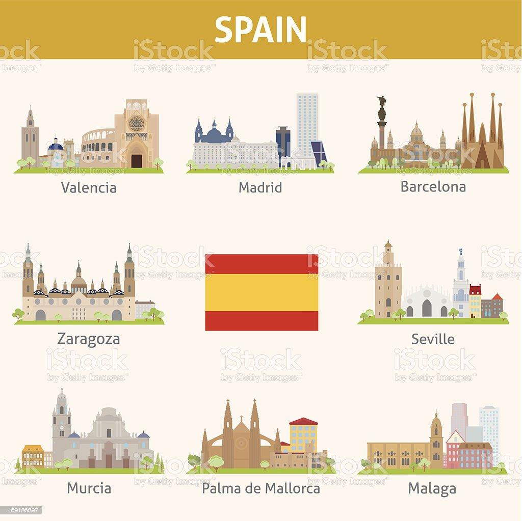 Spain. Symbols of cities vector art illustration