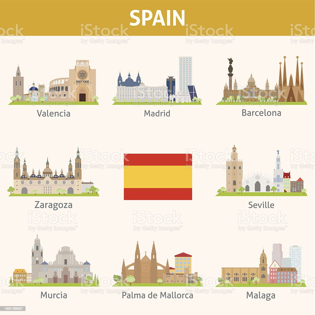 Spain. Symbols of cities vector art illustration