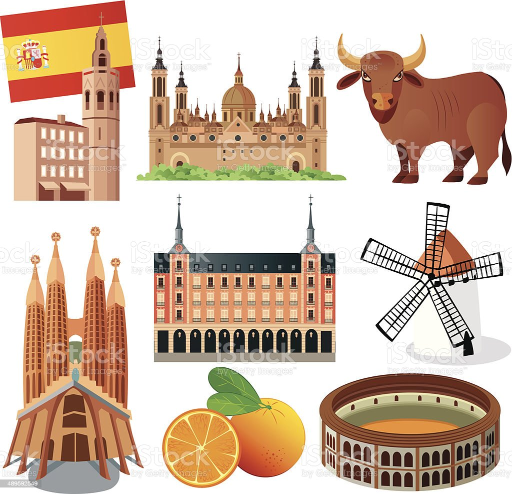 Spain Symbols vector art illustration