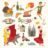 Spain traditional symbols set. Travel tourist element