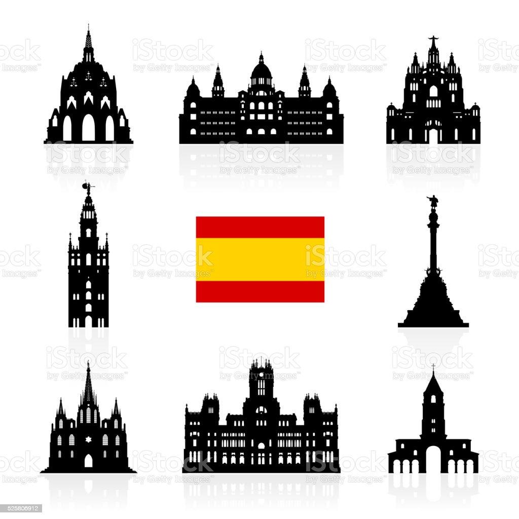 Spain Travel Landmarks Symbol. vector art illustration