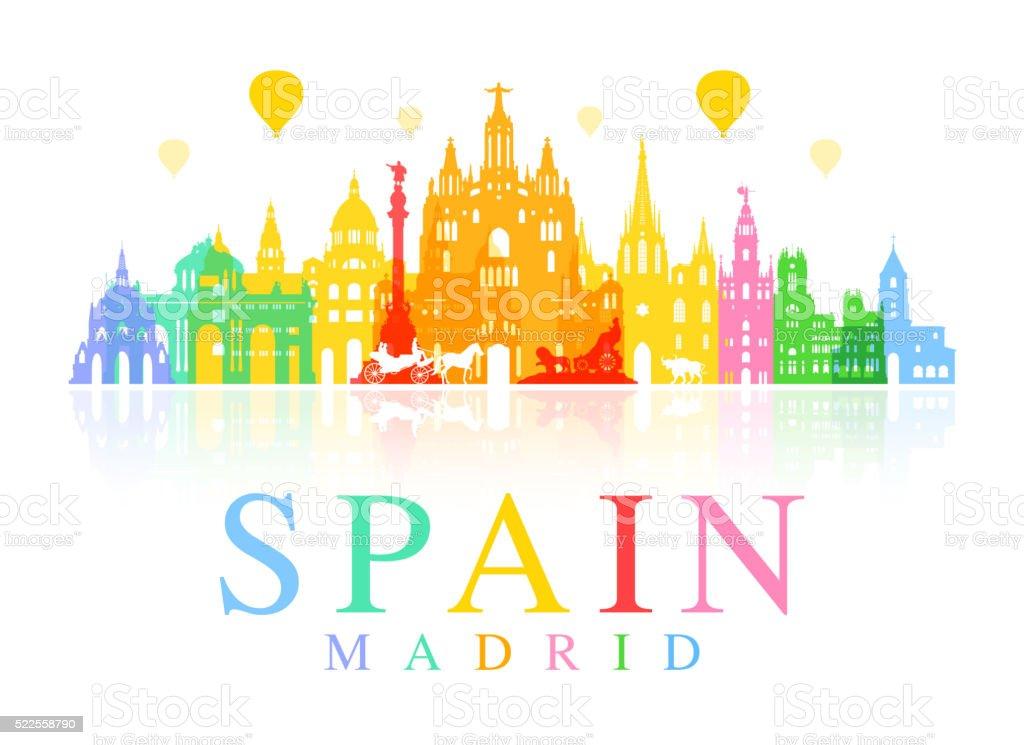 Spain Travel Landmarks. vector art illustration