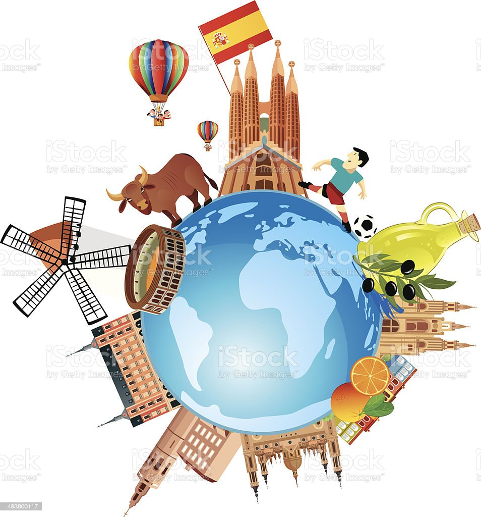 Spain travel vector art illustration