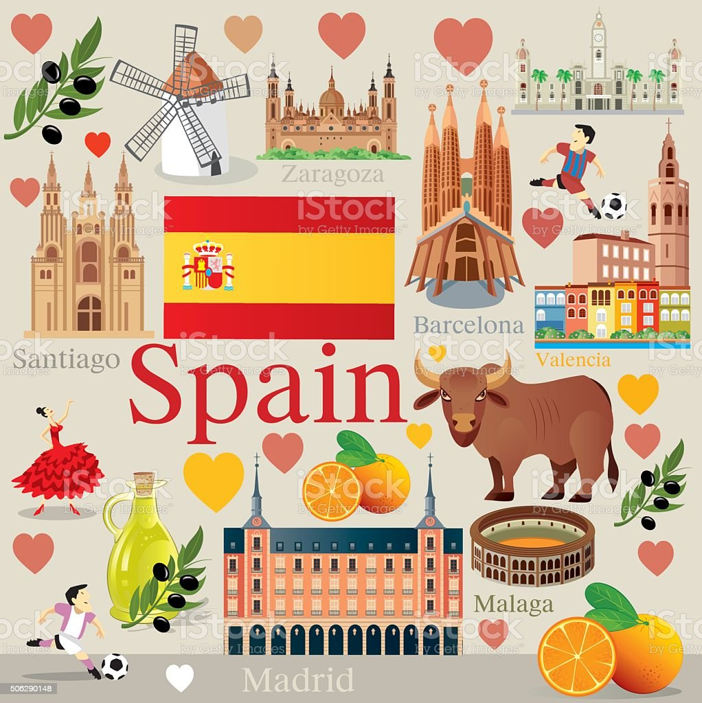 Spain Travel vector art illustration