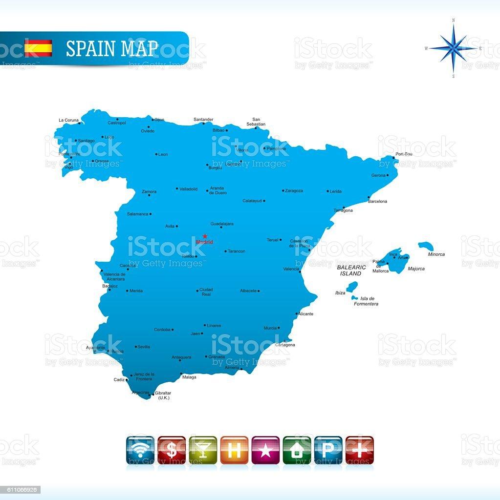 Spain Vector Map vector art illustration