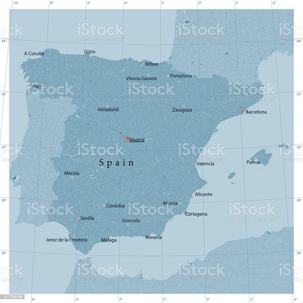 Spain Vector Road Map vector art illustration