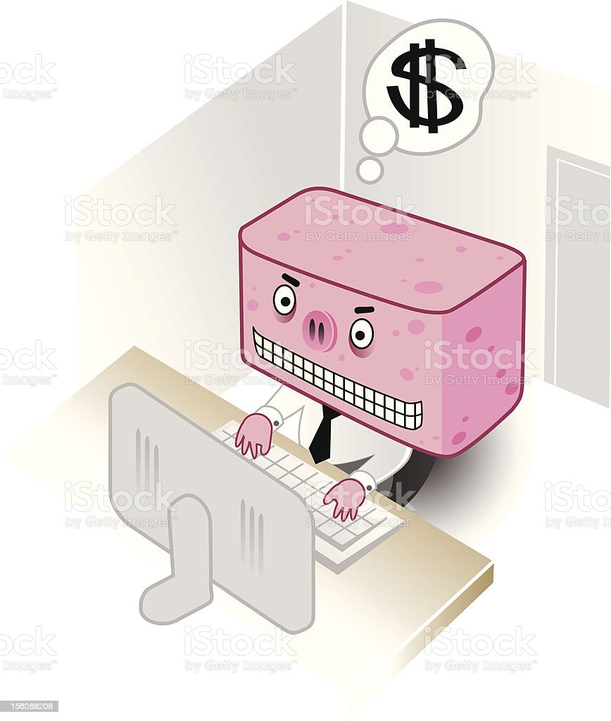 spammer with evil grin in front of his computer vector art illustration