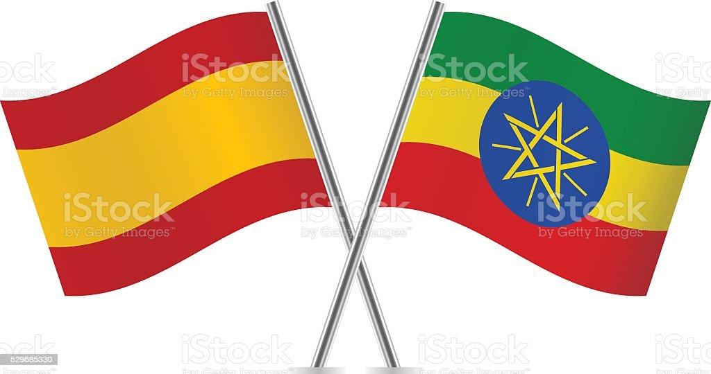 Spanish and Ethiopian flags. Vector. vector art illustration